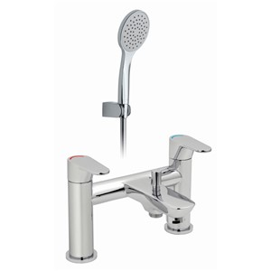 BALANCE 2 HOLE DECK MOUNTED BATH SHOWER MIXER WITH SHOWER KIT CP