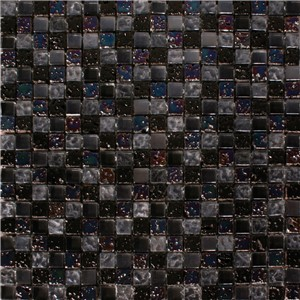 NB1128 CHESHAM BLACK MIXED MOSAIC SHEET 295X295