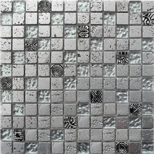 NB1131 CAMDEN SILVER MIXED MOSAIC SHEET 295X295