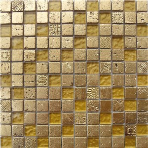 NB1132 CAMDEN GOLD MIXED MOSAIC SHEET 295X295